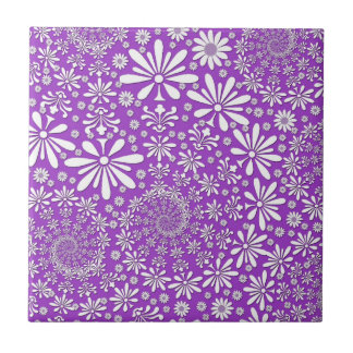 Spring Floral Pattern Purple and White Ceramic Tiles