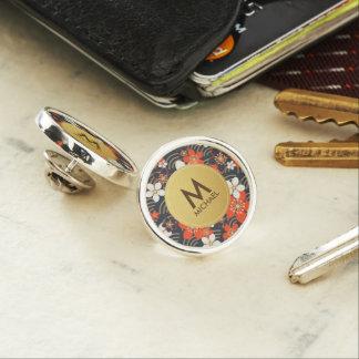 Spring Floral Red & Golden Monogram Round Lapel Lapel Pin