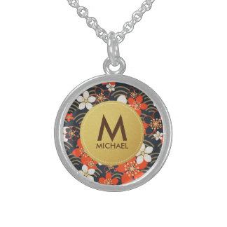 Spring Floral Red & Golden Monogram Round Necklace