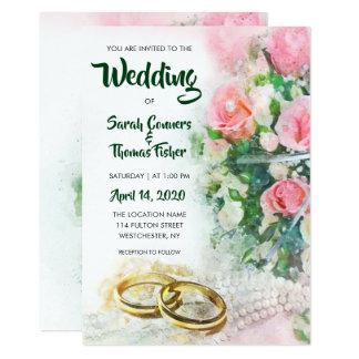 Spring Floral Watercolor Roses Wedding Invitation