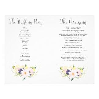 Spring Floral Watercolor Wedding Program Booklet 21.5 Cm X 28 Cm Flyer