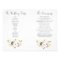 Spring Floral Watercolor Wedding Program Booklet 8.5