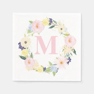 Spring Floral Wreath Monogram Wedding Napkins Disposable Napkin