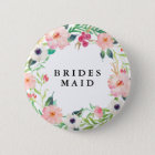 Spring Florals Bridesmaid Wedding 6 Cm Round Badge