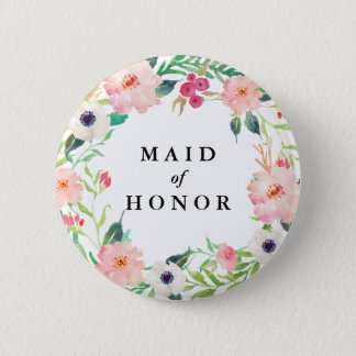 Spring Florals Maid of Honor Wedding 6 Cm Round Badge