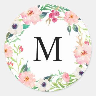 Spring Florals Monogram Round Sticker