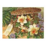 """""""Spring Flower Basket"""" Vintage Postcard"""