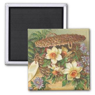 """""""Spring Flower Basket"""" Vintage Square Magnet"""
