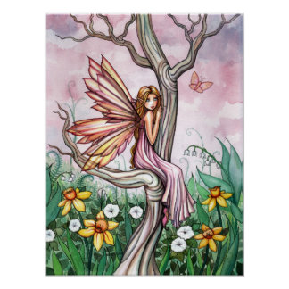 Spring Flower Fairy Daffodils and Butterfly Poster