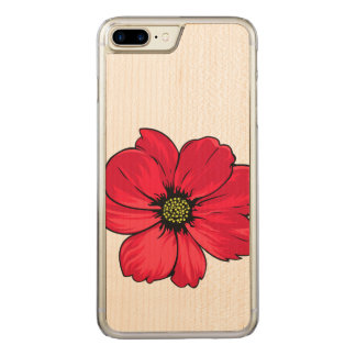 Spring Flower Illustration Carved iPhone 8 Plus/7 Plus Case