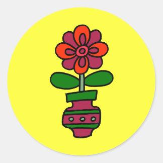 Spring Flower in Vase Round Sticker