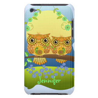Spring flower power owls & custom name iPod touch cover