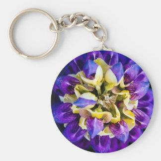 Spring Flower Top Down Basic Round Button Key Ring