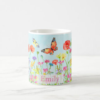 spring flower wildflowers butterflies customizable basic white mug