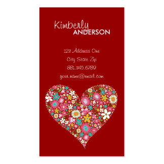 Spring Flowers 2 Valentine Heart Love Profile Card Pack Of Standard Business Cards