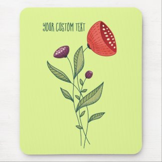 Spring Flowers Abstract Botanical Line Art Text Mouse Mat