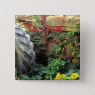 Spring flowers adorn an old tractor. 15 cm square badge