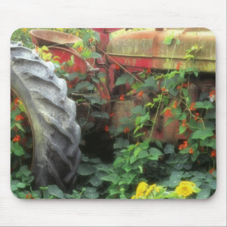Spring flowers adorn an old tractor. mouse mat