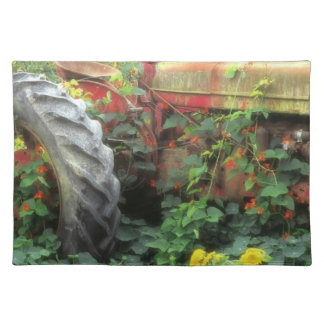 Spring flowers adorn an old tractor. placemat