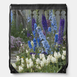 Spring flowers along a garden path, Georgia Drawstring Bag