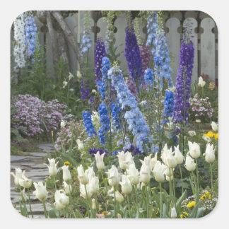 Spring flowers along a garden path, Georgia Square Sticker
