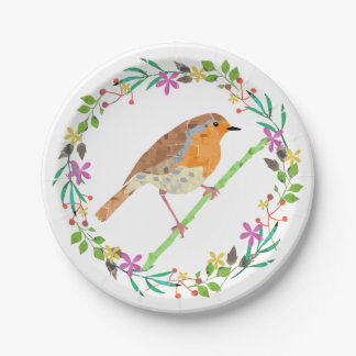 Spring flowers and robin bird paper plate