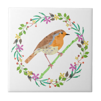 Spring flowers and robin bird small square tile