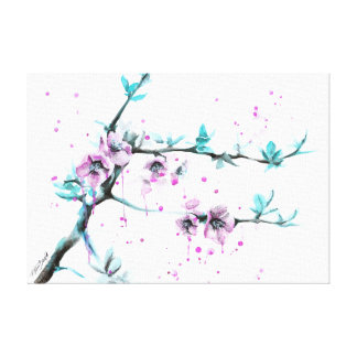 Spring flowers blossoms pink Wrapped canvas