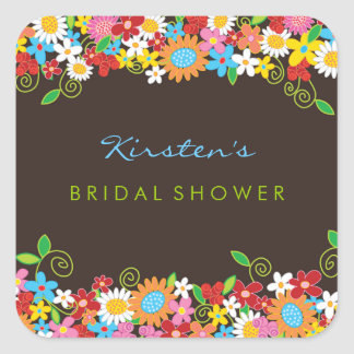 Spring Flowers Bridal Shower Wedding Party Sticker