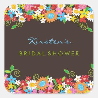 Spring Flowers Bridal Shower Wedding Party Sticker