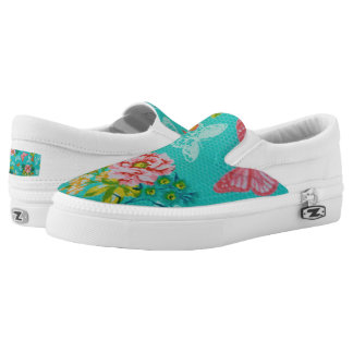 Spring Flowers & Butterflies Zipz Slip-On Shoes