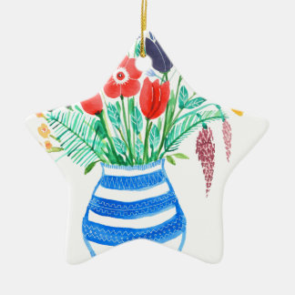 Spring Flowers Ceramic Star Decoration