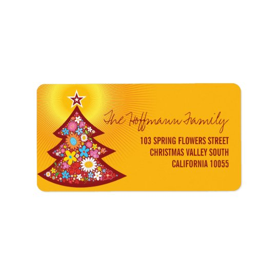 Spring Flowers Christmas Tree Address Labels