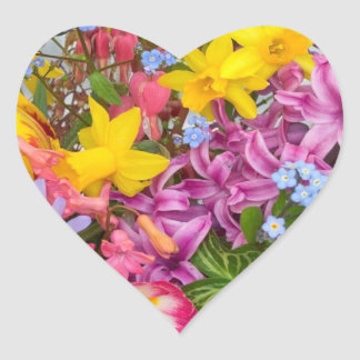 SPRING FLOWERS COLORFUL ASSORTMENT NATURE BEAUTY HEART STICKER