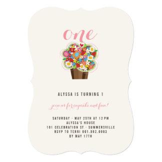Spring Flowers Cupcake 1st Birthday Party Invite