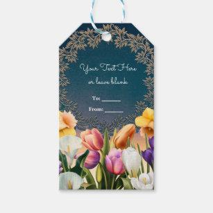 Spring Flowers Floral Frame Elegant Chic Favour Gift Tags