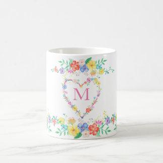 spring flowers floral initial monogram watercolor basic white mug