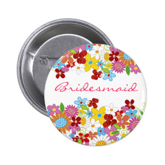 Spring Flowers Garden BRIDESMAID Wedding Name Tag 6 Cm Round Badge