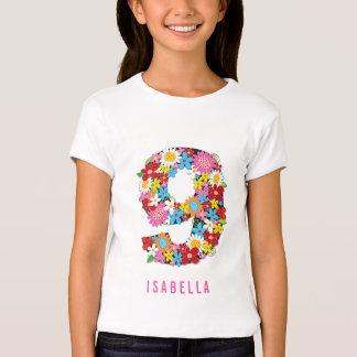 Spring Flowers Garden Cute Girl 9th Birthday Party T-Shirt
