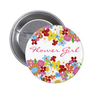 Spring Flowers Garden FLOWER GIRL Wedding Button