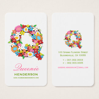 "Spring Flowers Garden ""Q"" Monogram Profile Card"