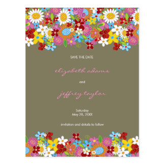 Spring Flowers Garden Save The Date Postcard