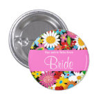 Spring Flowers Garden Wedding Bride Sweet Name Tag Pin