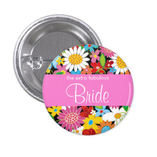 Spring Flowers Garden Wedding Bride Sweet Name Tag 3 Cm Round Badge