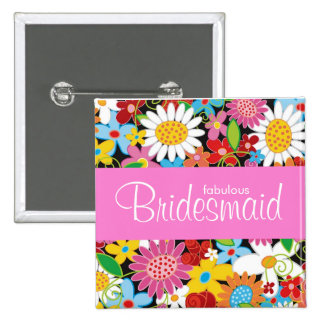 Spring Flowers Garden Wedding Bridesmaid Name Tag 15 Cm Square Badge