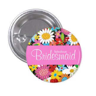 Spring Flowers Garden Wedding Bridesmaid Name Tag 3 Cm Round Badge
