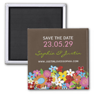 Spring Flowers Garden Whimsical Chic Save The Date Magnet