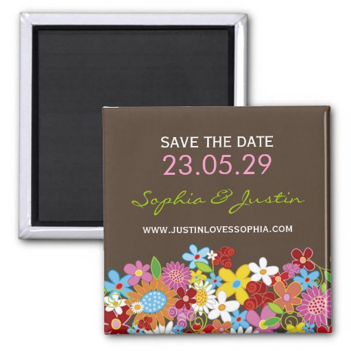 Spring Flowers Garden Whimsical Chic Save The Date Refrigerator Magnets