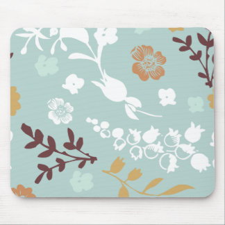 Spring flowers girly mod chic blue floral pattern mouse mat