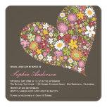 Spring Flowers Heart Love Bridal Shower Invite
